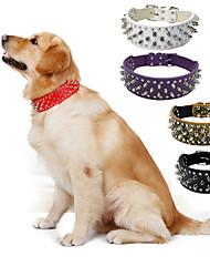 Недорогие -Собака Ошейники Компактность Однотонный Кожа PU Черный Коричневый Белый