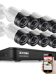 Недорогие -ZOSI 8-канальный 1080p безопасности видеорегистратор комплект 2-мегапиксельная камера видеонаблюдения система ночного видения водонепроницаемый жесткий диск HDD 2