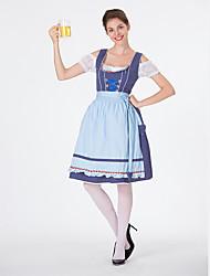 billige -Halloween Karneval Oktoberfest dirndl Dame bayerske Lyseblå Kjole Forklæde