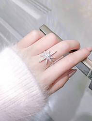 Недорогие -Жен. Кольцо Открытое кольцо 1шт Белый Медь Круглый Классический корейский Мода фестиваль Бижутерия Числа Буквы Милый