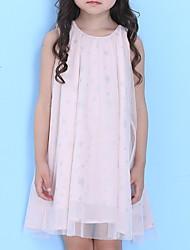 povoljno -Dijete koje je tek prohodalo Djevojčice Aktivan Geometrijski oblici Print Bez rukávů Iznad koljena Haljina Blushing Pink