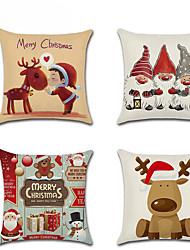 Недорогие -4шт наволочка с рождеством загар с новым годом украшения дома подушка хлопковое покрытие льняной диван спальня наволочка