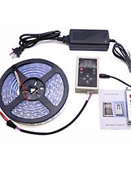 billige -5 m Fleksible LED-lysstriper / RGB-lysstriper / Fjernkontroller 300 LED 5050 SMD 1 x 12V 5A strømforsyning Multifarget Kreativ / Fest / Dekorativ 85-265 V 1set