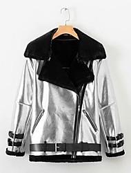 Недорогие -Жен. Повседневные Обычная Кожаные куртки, Контрастных цветов Отложной Длинный рукав Полиуретановая Серебряный