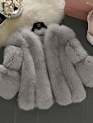 Недорогие -Жен. Повседневные Наступила зима Обычная Искусственное меховое пальто, Однотонный V-образный вырез Длинный рукав Искусственный мех Белый / Розовый / Серый