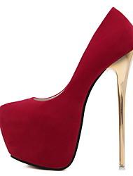 Недорогие -Жен. Обувь на каблуках На шпильке Круглый носок Кожа Лето Черный / Красный