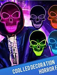 Недорогие -Светодиодный страшный скелет маска блеск и вампир набор светящихся вставных зубов хеллоуин костюм маска красный / синий / зеленый а. А. С батарейным питанием вечеринка бар ночной свет косплей маски