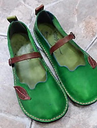 Недорогие -Жен. На плокой подошве На плоской подошве Круглый носок Полиуретан Лето Лиловый / Зеленый / Красный