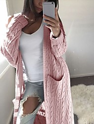 cheap -Women's Cardigan Solid Color Knitted Basic Casual Long Sleeve Loose Sweater Cardigans Fall Winter Open Front Yellow Blushing Pink Khaki