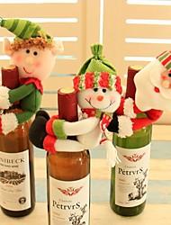 Недорогие -3 шт. Санта-Клаус красное вино крышка от бутылки снеговика дома рождественские украшения прекрасный навидад рождественские украшения винные бутылки держать крышки