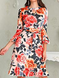 Недорогие -Жен. Русалка Платье - Цветочный принт Средней длины