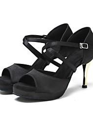 Недорогие -Жен. Танцевальная обувь Полотно Обувь для латины На каблуках Тонкий высокий каблук Черный