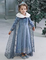 Недорогие -Дети Дети (1-4 лет) Девочки Активный Милая Однотонный Halloween Длинный рукав Макси Платье Синий