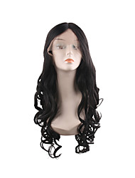 cheap -Synthetic Lace Front Wig Curly Style Middle Part Lace Front Wig Synthetic Hair 28 inch Women's Women / Best Quality / Fashion Black Wig Long Natural Wigs