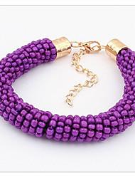 billige -Dame Perlearmbånd Perler Veving Vintage Legering Armbånd Smykker Lilla Til Daglig
