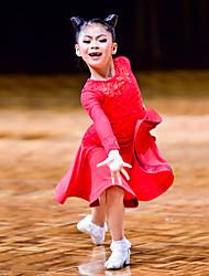 Недорогие -Латино / Детская одежда для танцев Платья Девочки Выступление Кружева / Ice Silk (искусственное волокно) Кружева / Комбинация материалов Длинный рукав Средняя талия Платье