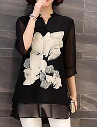 Недорогие -Жен. Рубашка Цветочный принт Черный