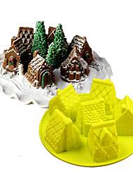 Недорогие -6 отверстий 3d дом торт плесень рождественские пряники украшения инструмент кухня формы для выпечки