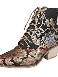 Недорогие -Жен. Ботинки На толстом каблуке Круглый носок Полотно Сапоги до середины икры Наступила зима Цвет радуги