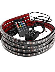 Недорогие -Автомобиль декоративный свет красочный беспроводной пульт дистанционного управления музыкой управления звуком лампа окружающего света шасси свет 90 * 120 см