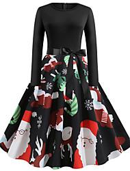 Недорогие -Жен. Винтаж Уличный стиль Маленькое черное Платье - Цветочный принт, С принтом Средней длины Дед Мороз