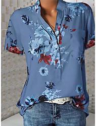 Недорогие -Жен. Большие размеры - Рубашка V-образный вырез Тонкие Цветочный принт Белый
