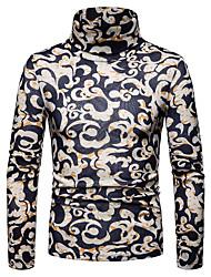 Недорогие -Муж. Геометрический принт / Контрастных цветов / Шахматка Длинный рукав Пуловер, Вырез под горло Осень / Зима Черный / Желтый US36 / UK36 / EU44 / US38 / UK38 / EU46 / US42 / UK42 / EU50
