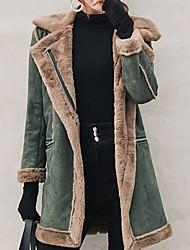 Недорогие -Жен. Повседневные Наступила зима Обычная Пальто, Однотонный Отложной Длинный рукав Полиэстер Коричневый / Зеленый