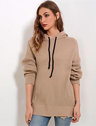 abordables -Femme Couleur Pleine Manches Longues Pullover, Capuche Rouge / Kaki Taille unique