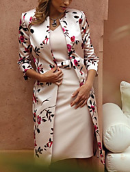 Недорогие -Жен. Элегантный стиль Кружева Тонкие Из двух частей Платье - Цветочный принт, Кружева V-образный вырез Средней длины