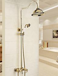 Недорогие -Смеситель для душа - Традиционный / Modern Хром Душевая система Керамический клапан Bath Shower Mixer Taps / Латунь / Одной ручкой Два отверстия