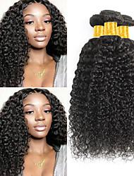 Недорогие -3 Связки Малазийские волосы Kinky Curly Натуральные волосы Wig Accessories Человека ткет Волосы Удлинитель 8-28 дюймовый Естественный цвет Ткет человеческих волос Мягкость Шелковистость Натуральный