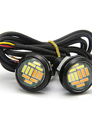 billige -10 stk ørnøyelampe 23mm 12smd doble farger hvit gul drl kjørelys daglykt kildelys blinklys lampe 12v