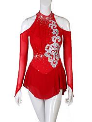 Недорогие -Платье для фигурного катания Жен. Девочки Катание на коньках Платья Красный Цветы Открытая спина Эластичная пряжа Эластичность Соревнование Одежда для фигурного катания Стразы Фигурное катание