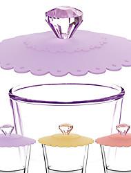 Недорогие -силиконовая алмазная крышка чайная чашка всасывающая крышка термостойкая многоразовая герметичная крышка разных цветов