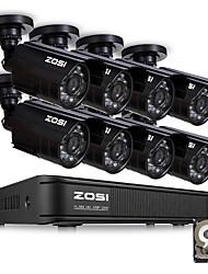 Недорогие -Зоси HD 8-канальный видеонаблюдения 8-канальный 1080n видеорегистратор 8шт 1-мегапиксельная 720p открытый водонепроницаемый видео система ночного видения видеонаблюдения видеорегистратор комплект HDD