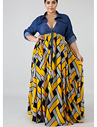 Недорогие -Жен. С летящей юбкой Платье - Геометрический принт Макси
