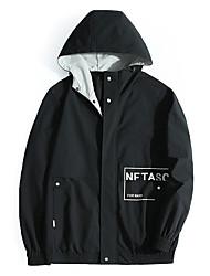 abordables -Homme Quotidien Automne hiver Normal Veste, Couleur Pleine Capuche Manches Longues Polyester Noir