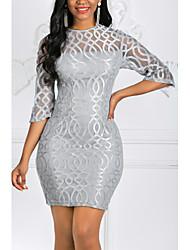 Недорогие -Жен. Большие размеры Элегантный стиль Тонкие Облегающий силуэт Оболочка Платье - Однотонный, Кружева Мини