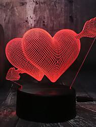 Недорогие -романтическая любовь 3d стрелка через сердце привели ночник настольная лампа свадьбы украшения спальни влюбленных и пара и любовь лучший подарок