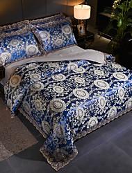 Недорогие -сатин жаккард свадьба 4 шт тенсел модальные кружева большой кружевной комплект постельных принадлежностей