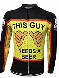 Недорогие -21Grams Муж. Длинный рукав Велокофты Черный / желтый Велоспорт Джерси Верхняя часть Устойчивость к УФ Дышащий Быстровысыхающий Виды спорта 100% полиэстер Горные велосипеды Шоссейные велосипеды Одежда