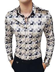 Недорогие -Муж. С принтом Рубашка Уличный стиль / Элегантный стиль Геометрический принт / Контрастных цветов / Графика Белый