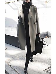 Недорогие -Жен. Повседневные Наступила зима Длинная Пальто, Однотонный Европейский воротничок Длинный рукав Смесь шерсти Черный / Зеленый