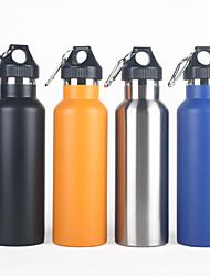 Недорогие -Бутылки для воды Бутылка для воды Один экземляр Компактность Сохраняет тепло Альпинизм за 1 человек Нержавеющая сталь на открытом воздухе Восхождение Походы Путешествия Черный Серебряный Оранжевый 1