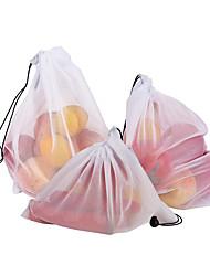Недорогие -3шт сетка мешок овощей и фруктов сетчатый мешок полиэстер сетка сращивания сетка сумка многоразовые кухня хранения продуктов организатор