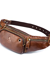Недорогие -Муж. Молнии Воловья кожа Слинг сумки на ремне Сплошной цвет Коричневый