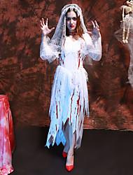 Недорогие -Призрачная невеста Товары для Хэллоуина Взрослые Жен. Косплей Хэллоуин Halloween фестиваль Хэллоуин Фестиваль / праздник Кружево Полиэстер Белый Жен. Карнавальные костюмы Кружева / Платье