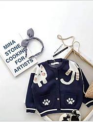 Недорогие -Дети (1-4 лет) Девочки Классический Геометрический принт Длинный рукав Свитер / кардиган Синий