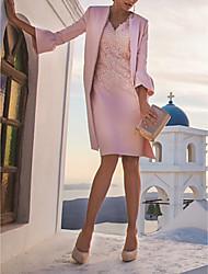 Недорогие -А-силуэт / Из двух частей V-образный вырез Короткое / мини Полиэстер Платье для матери невесты с Аппликации / Драпировка от LAN TING Express / Накидка включена